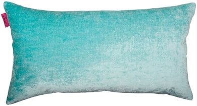 rectangular turquoise velvet cushion