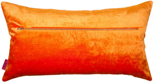 Orange rectangular cushion in velvet