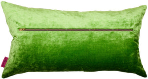 rectangular green pillow in velvet