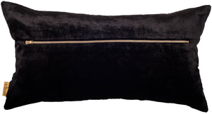 rectangular black velvet cushion in black