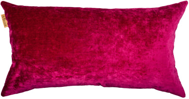 Rectangular cushion in velvet fuchsia