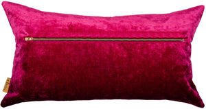 rectangular cushion in velvet pink