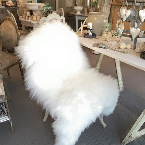 Genuine Ivory Sheepskin Rug - Decorative Antiques UK  - 1