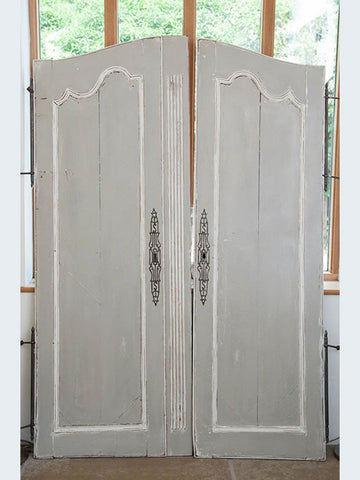 Beautiful Pair Large Vintage French Armoire Doors, painted in Pale Grey and White - Decorative Antiques UK  - 1