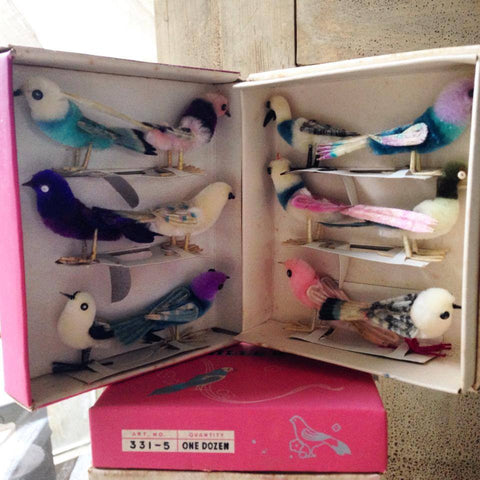 Boxed Set of 12 Vintage Chenille birds circa 1970's - Decorative Antiques UK  - 1