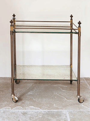 Mid Century French Brass and Mirror Trolley/Side Table - Decorative Antiques UK  - 1