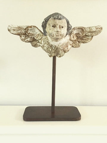 Rare 19th Century Italian Cherub Fragment mounted on steel stand - Decorative Antiques UK  - 1