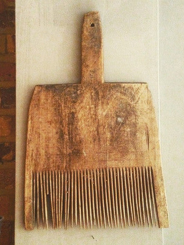 Antique 19th Century Country Primitive Wooden Wool Carding Comb - Decorative Antiques UK  - 1