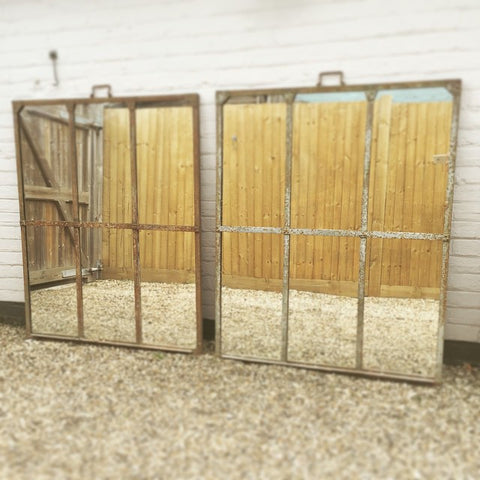 Large Antique Industrial Factory Window Mirrors with antique glass - Decorative Antiques UK  - 1