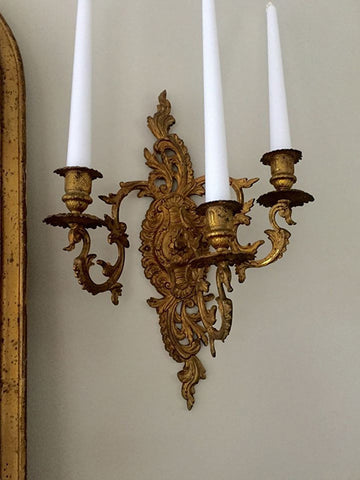 Pair Pretty Antique French Gilt Three Arm Candle Sconces - Decorative Antiques UK  - 1