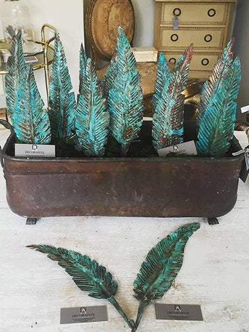 Handmade Copper Feathers with Verdigris Patina - Decorative Antiques UK  - 1