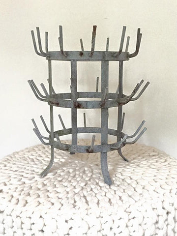 Vintage French Galvanised Bottle Dryer/Display tree - Decorative Antiques UK  - 1
