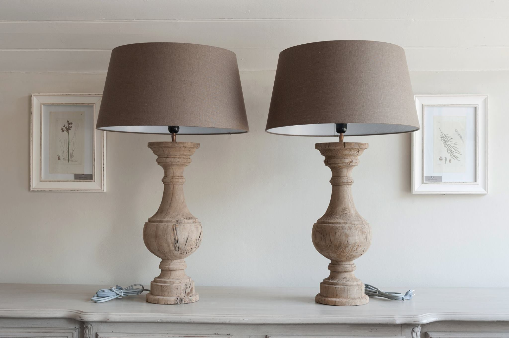 Stunning pair carved wood table lamps with linen shades stunning pair carved wood table lamps with linen shades decorative antiques uk 3 geotapseo Images