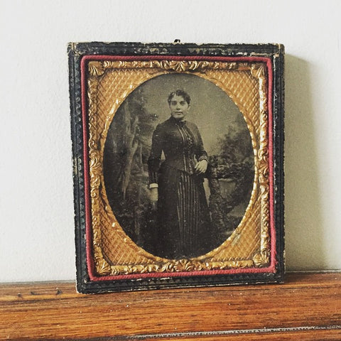Victorian Ambrotype Photograph Of Lady, encased in its original Wooden frame - Decorative Antiques UK