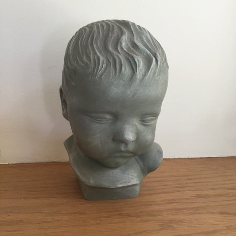Lovely Vintage French Bust of a Small Child, signed - Decorative Antiques UK  - 1