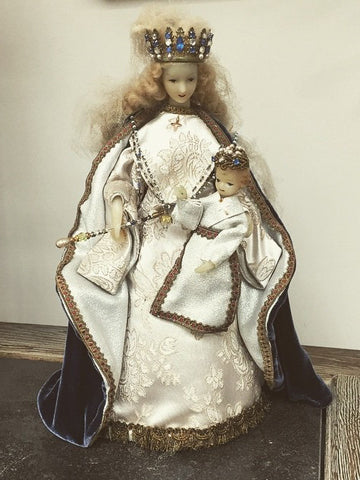 Antique Belgian Madonna and Baby Child Wax Dolls - Decorative Antiques UK  - 1