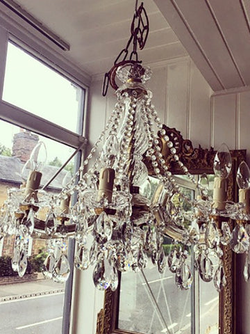 Stunning Pair Vintage 8 Arm Marie Therese Chandeliers - Decorative Antiques UK  - 1