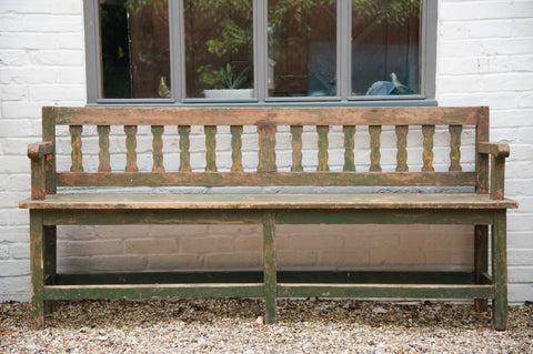 Gorgeous Antique French Wooden Bench with original paint - Decorative Antiques UK  - 1