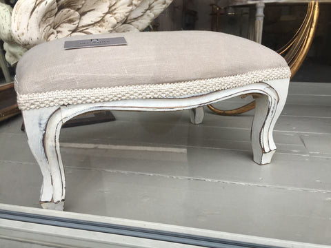 Vintage French Upholstered Footstool - Decorative Antiques UK  - 1