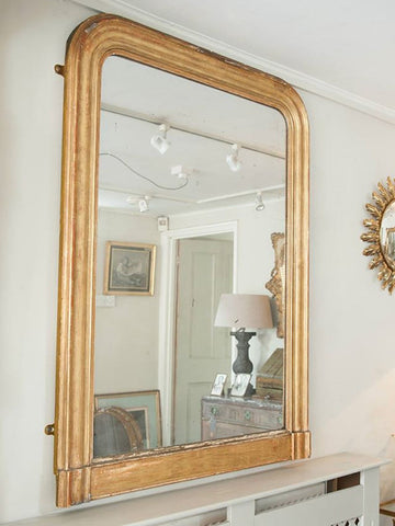 Large Antique French Gilt Louis Philippe Mirror with Mercury Glass - Decorative Antiques UK  - 1