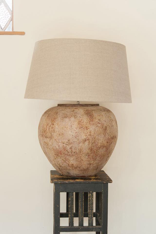 Pair Of Large Terracotta Table Lamps With Linen Shades   Decorative  Antiques UK   1 ...