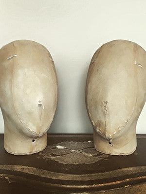 Vintage Cloth Covered Display Head/Wig Stand - Decorative Antiques UK  - 1