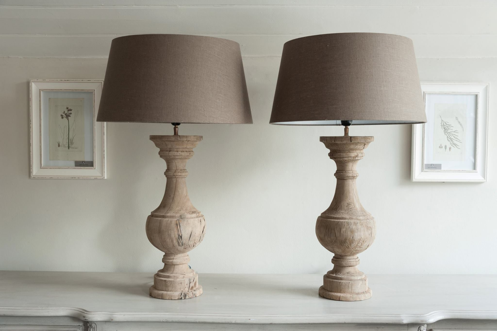 Antique wooden table lamps -  Stunning Pair Carved Wood Table Lamps With Linen Shades Decorative Antiques Uk 2