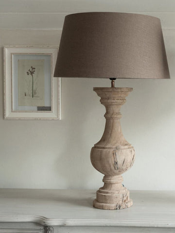 Stunning Pair Carved Wood Table Lamps with Linen Shades - Decorative Antiques UK  - 1