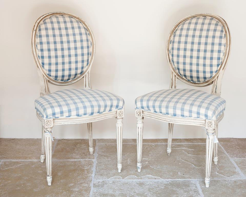 Pair Vintage French Dining Chairs With Blue And White Checked