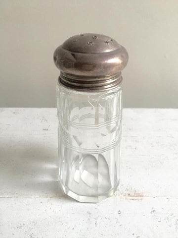 Antique Solid Silver Hallmarked and Etched Glass Sugar Shaker - Decorative Antiques UK  - 1