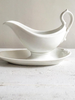 Vintage French White Porcelain china gravy boat on stand - Decorative Antiques UK  - 1