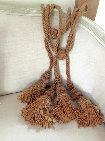 19th Century French Wood and Braided Tie Backs in Gold/Rust - Decorative Antiques UK  - 1