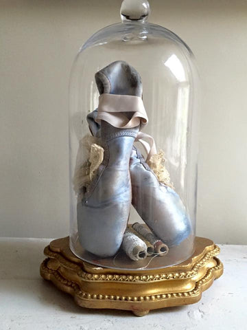 Gorgeous Pair Vintage Blue Ballet Pointe Shoes - Decorative Antiques UK  - 1