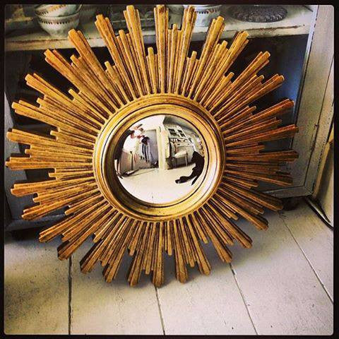 Large Mid Century French Sunburst Mirror with convex glass - Decorative Antiques UK  - 1