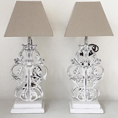 Decorative Balustrade Iron Table lamps with Beige linen shades - Decorative Antiques UK  - 1