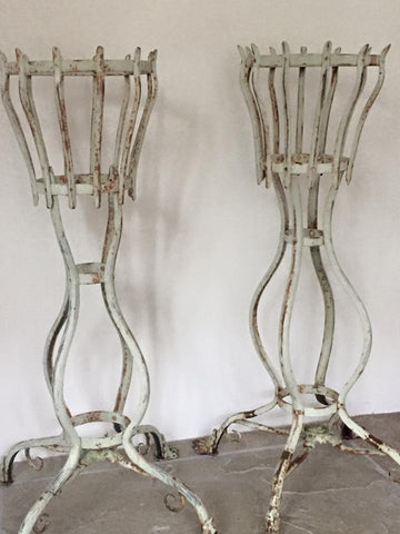 Pair of Vintage French Iron Tall Planters with lions claw feet - Decorative Antiques UK  - 1