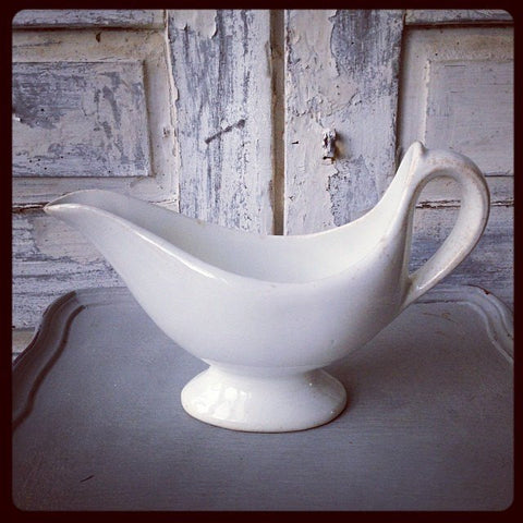 Vintage Dutch White Porcelain China Gravy Boat - Decorative Antiques UK  - 1