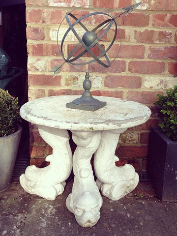 Mid Century Composite Garden Table with 3 fish base - Decorative Antiques UK  - 1