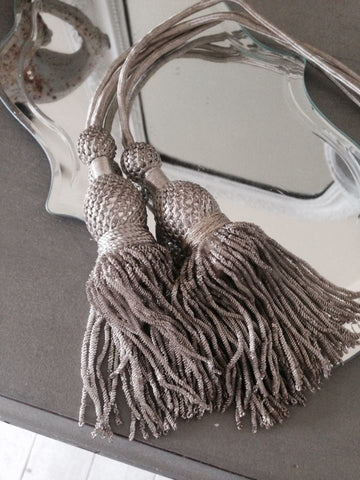 Two Gorgeous Antique French Silver Metallic Tassels with Bullion Cord - Decorative Antiques UK  - 1