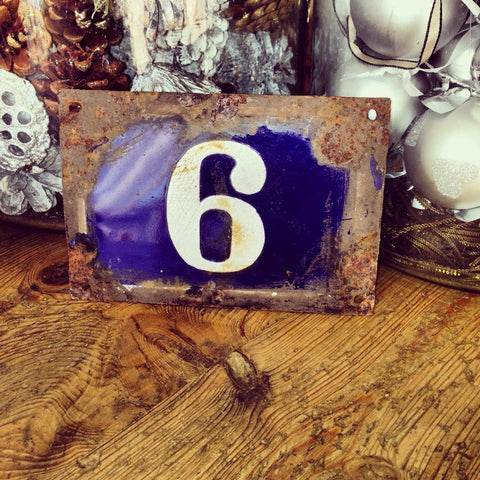 Original Vintage French Enamel Blue Number Plaque - Decorative Antiques UK  - 1