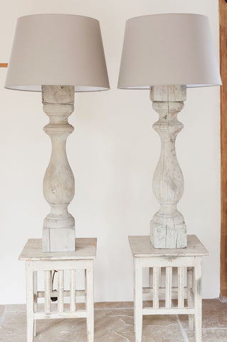 Pair Tall Antique French Wooden Baluster Table Lamps - Decorative Antiques UK  - 1