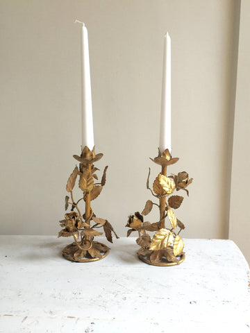 Pair Mid Century Italian Gilt Florentine Toleware Rose Leaf Candlesticks - Decorative Antiques UK  - 1