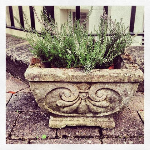 Pair of Vintage Stone planters with Swag pattern - Decorative Antiques UK  - 1