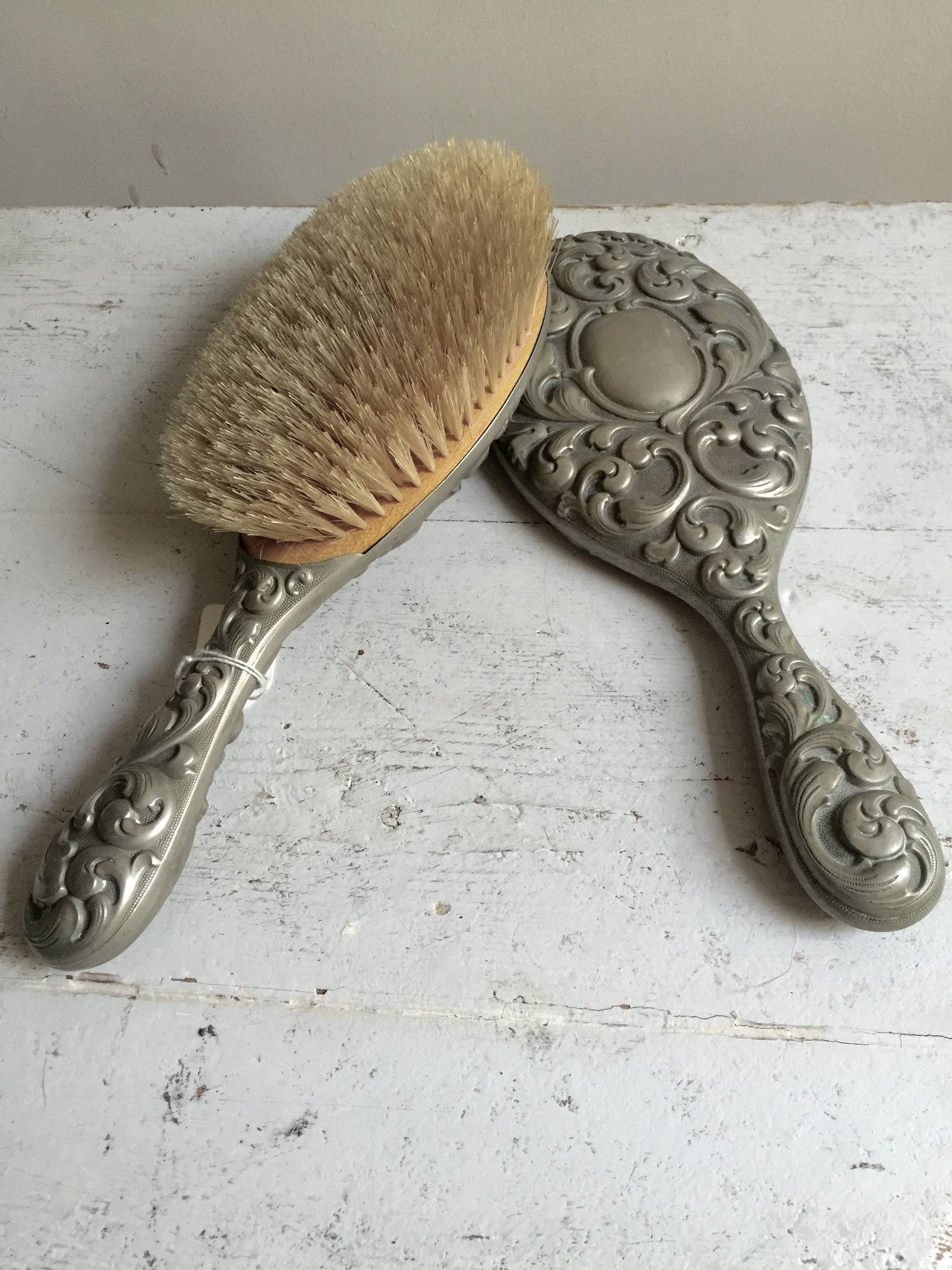 victorian hand mirror. Victorian Silver Plated Brush And Hand Mirror - Decorative Antiques UK 2 C