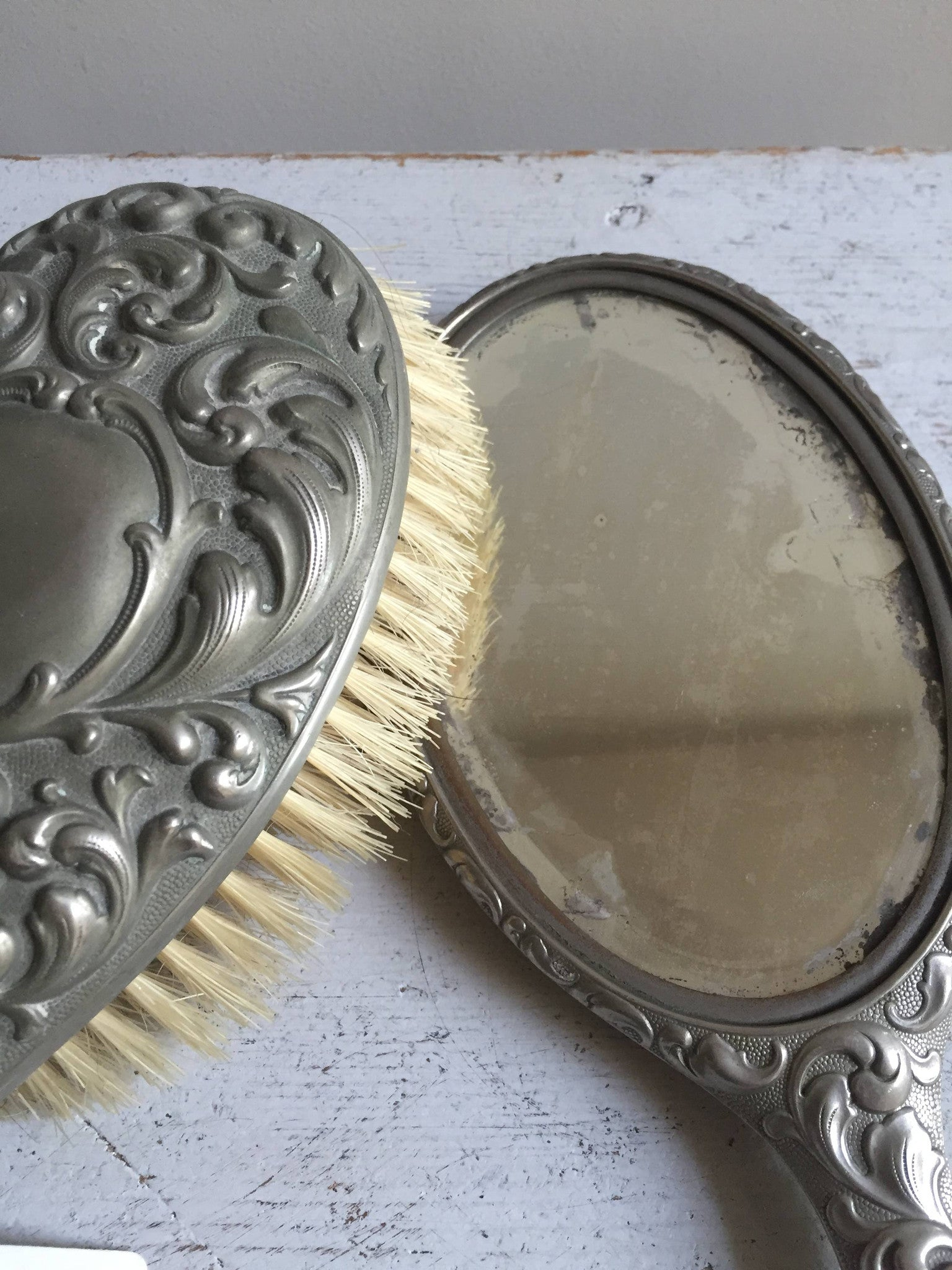 victorian hand mirror. Victorian Silver Plated Brush And Hand Mirror - Decorative Antiques UK 5