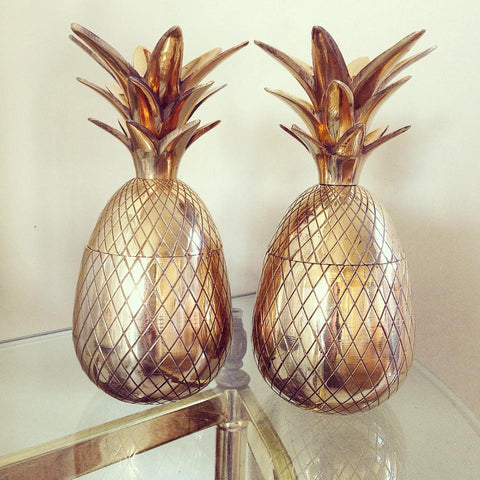 Stunning Pair Mid Century Brass Pineapple Ice Buckets/Containers - Decorative Antiques UK  - 1