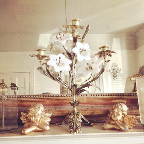 Stunning Vintage French 3 arm candelabra with white porcelain flowers - Decorative Antiques UK  - 1