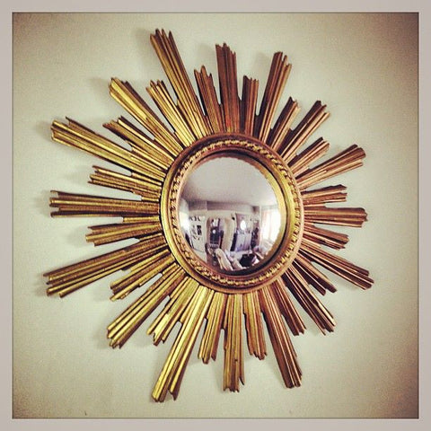 Large Sunburst Mirror 1950's from Belgium with convex glass - Decorative Antiques UK  - 1