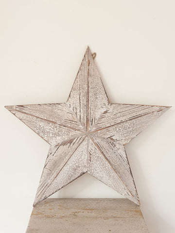 Wooden Barn Stars with distressed white paint finish - Decorative Antiques UK  - 1