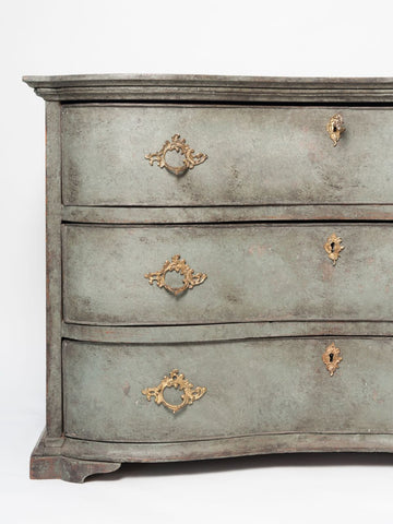 Antique Swedish Baroque Rococo Commode, circa 1770, later painted